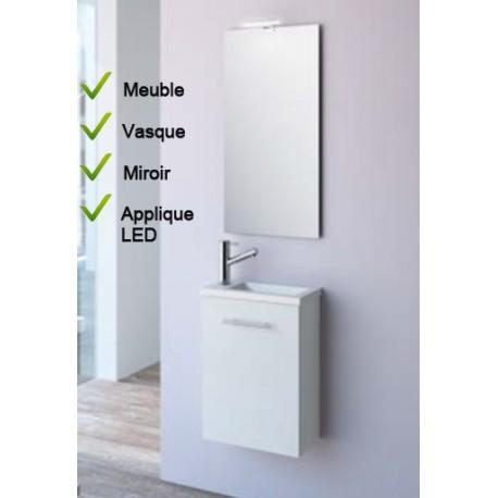 ensemble lave mains meuble blanc vasque miroir led salgar micro 22516 comparer les prix. Black Bedroom Furniture Sets. Home Design Ideas