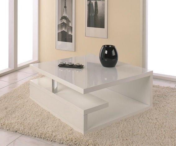 Table basse valentine laquee blanc brillant avec rangements - Table basse ronde avec rangement ...