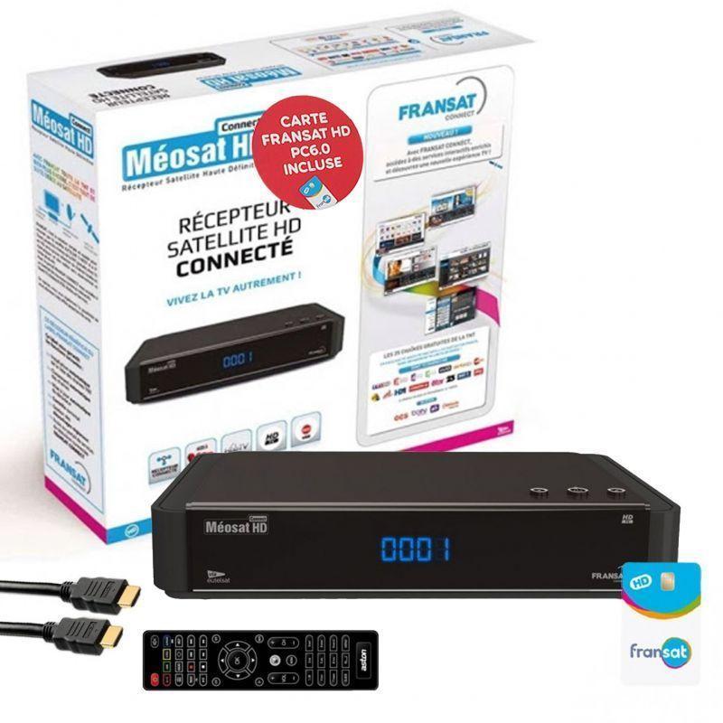 RÉCEPTEUR TV SATELLITE HD CONNECT + CARTE FRANSAT PC6 + CÂBLE HDMI - NOIR - ASTON