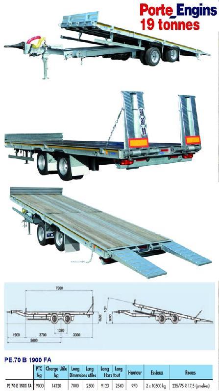 Remorques porte engins 19 tonnes for Porte engin 60 tonnes