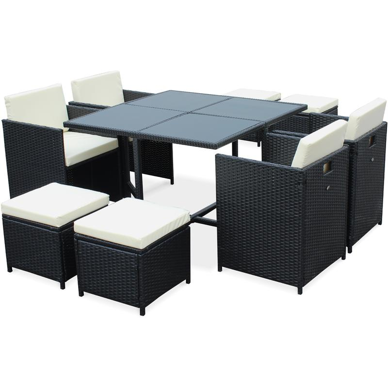 Salon de jardin cubo noir table en r sine tress e 4 8 - Salon de jardin resine tressee 4 places encastrable ...