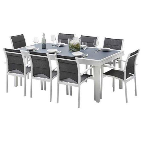 Ensemble table et chaises de jardin modulo 8 places blanc for Table haute 50x50
