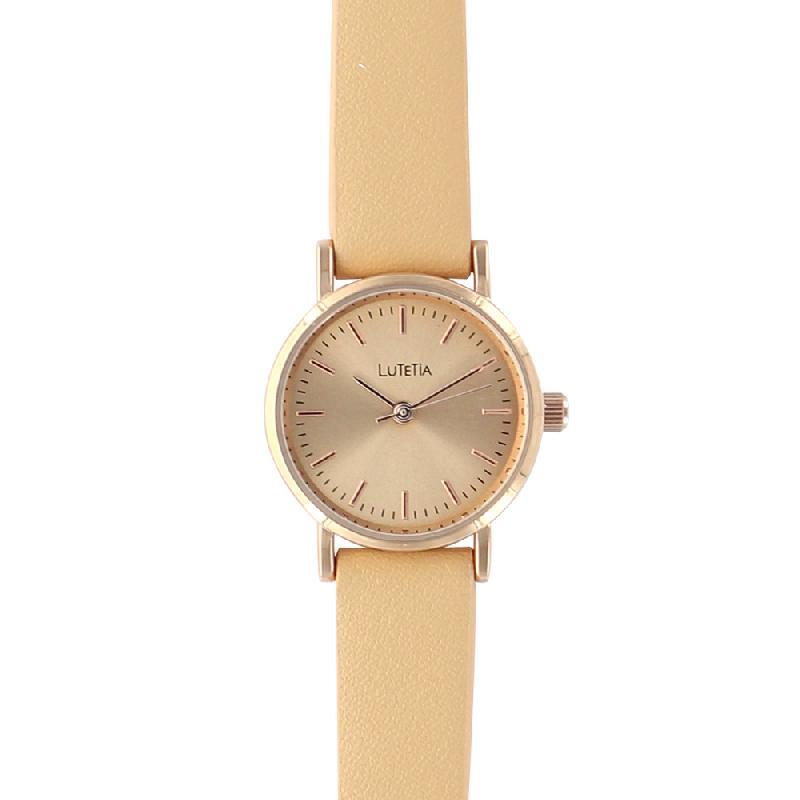 Montre lutetia boîtier métal doré rose ø 25 mm cadran et bracelet synthétique couleur crème