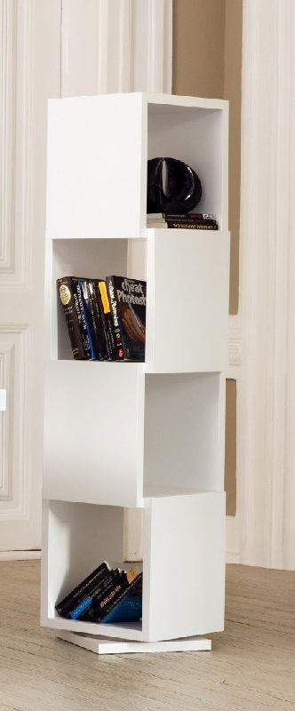 shell etagere bliotheque design rotative blanche mate 4 niveaux. Black Bedroom Furniture Sets. Home Design Ideas
