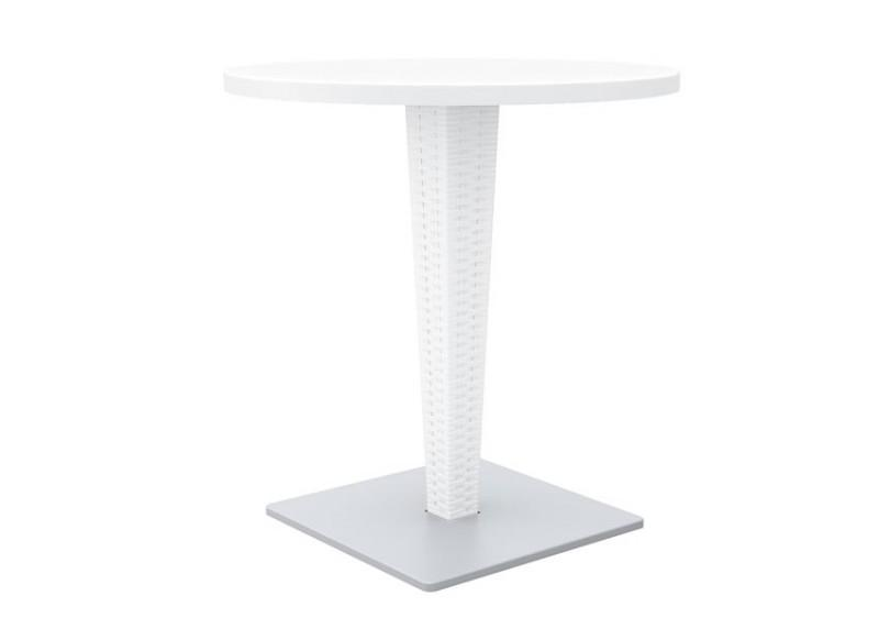 Table sara ronde blanc for Table de jardin ronde plastique blanc