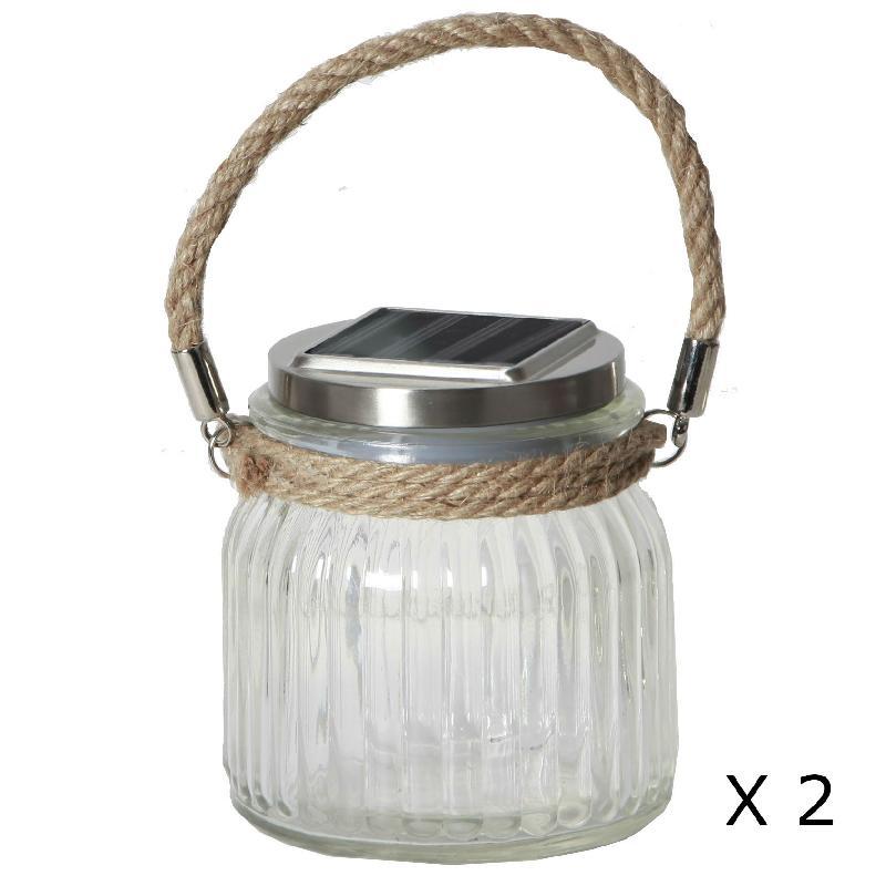 Glass jar lot de 2 lanternes solaire d 39 ext rieur for Lanterne solaire exterieur