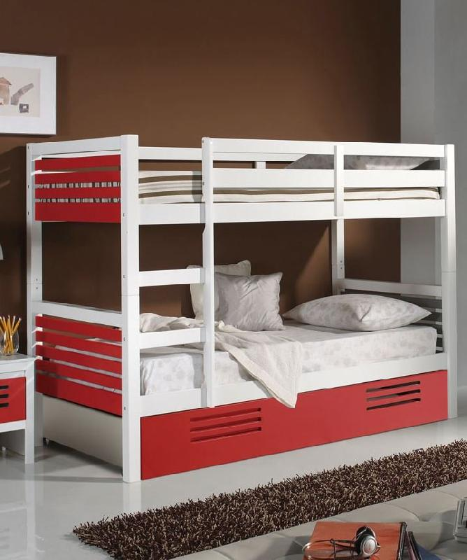 lit superpose marlone avec tiroir laque blanc et rouge couchage 190 x 90. Black Bedroom Furniture Sets. Home Design Ideas