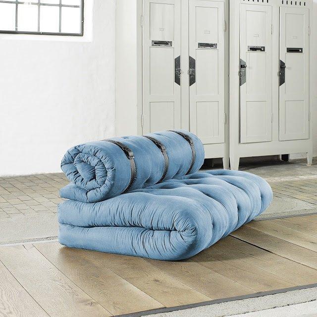 chauffeuse 2 places buckle up futon bleu azur couchage 140 200 24cm. Black Bedroom Furniture Sets. Home Design Ideas