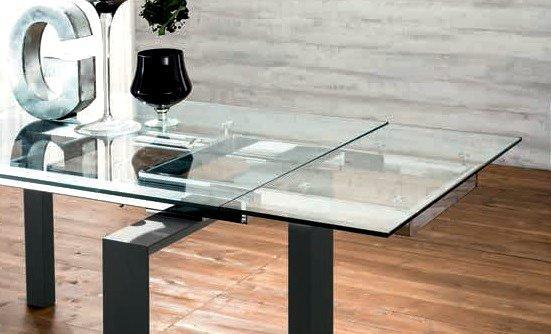 Table Repas Extensible En Verre Epsylon Pietement Bois Teinte Noir