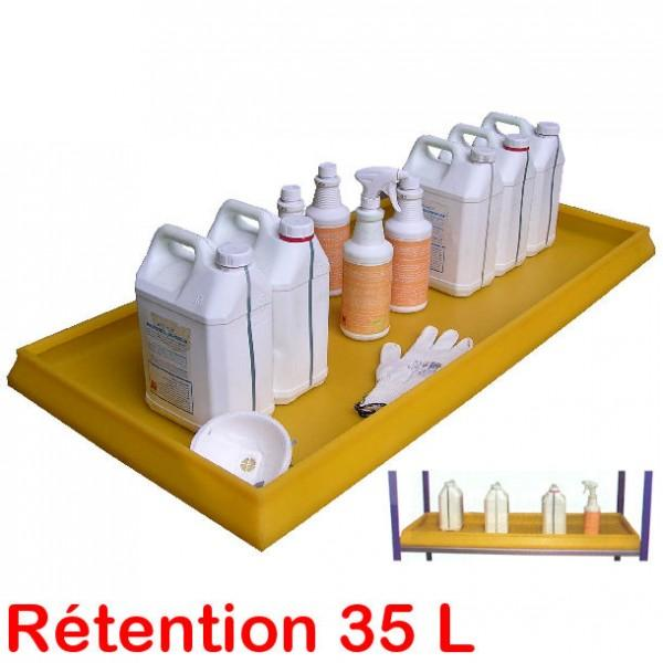 bac de retention plastique 35 litres pour etageres avec caillebotis. Black Bedroom Furniture Sets. Home Design Ideas