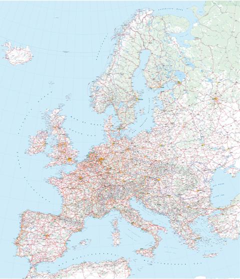 Carte Europe Routes.Europe Routes Et Reliefs Michelin