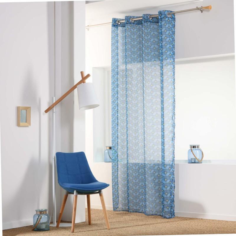 rideau voilage jodie 140x240cm bleu paris prix. Black Bedroom Furniture Sets. Home Design Ideas