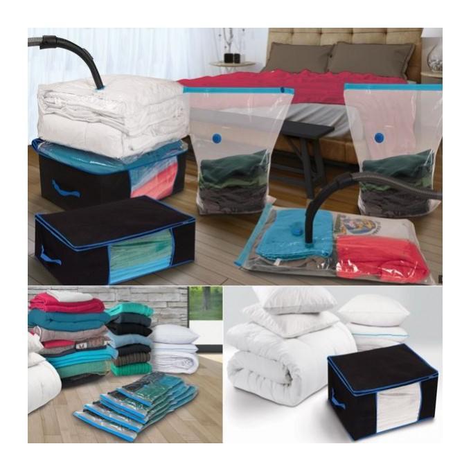 lot de 5 sacs housses et 2 coffres rangement sous vide aspirateur probache comparer les prix. Black Bedroom Furniture Sets. Home Design Ideas