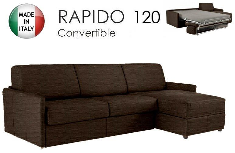 canape d 39 angle sun convertible ouverture rapido 120cm tissu tweed marron. Black Bedroom Furniture Sets. Home Design Ideas