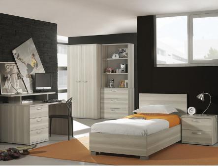 Chevet pour chambre enfant moderne coloris frêne gris