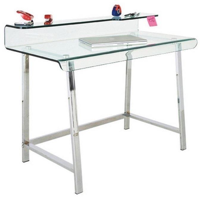 Bureau clear en verre et acier inoxydable - Plateau verre trempe bureau ...
