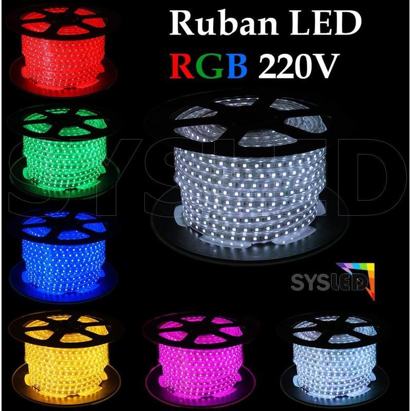 KIT RUBAN LED PROFESSIONNEL 5050 60 LED/M DE 25 OU 50 MÈTRES RGB ÉTANCHE (IP68) AVEC CONTRÔLEUR 220V | LONGUEUR: 50 MÈTRES - SYSLED
