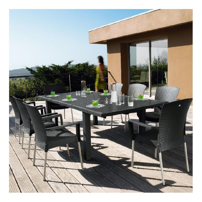 Salon de jardin grosfillex achat vente de salon de for Salon jardin pvc gris