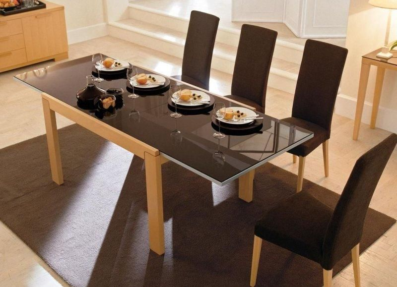 table repas extensible vero de calligaris 130x90 en verre coloris cappuccino pietement noyer. Black Bedroom Furniture Sets. Home Design Ideas