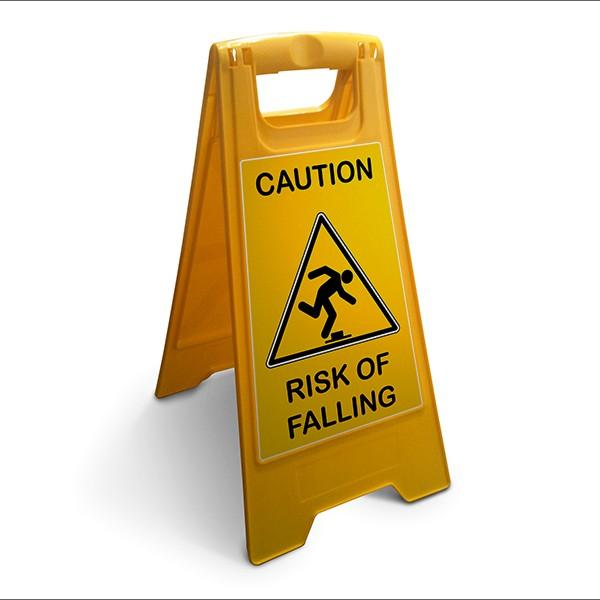 Chevalet caution risk of falling fond jaune - Restitution caution delai ...