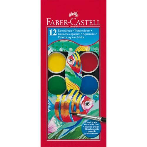 FABER CASTELL BOITE PLASTIQUE DE 12 PASTILLES DE PEINTURE GOUACHES + 1 PINCEAU