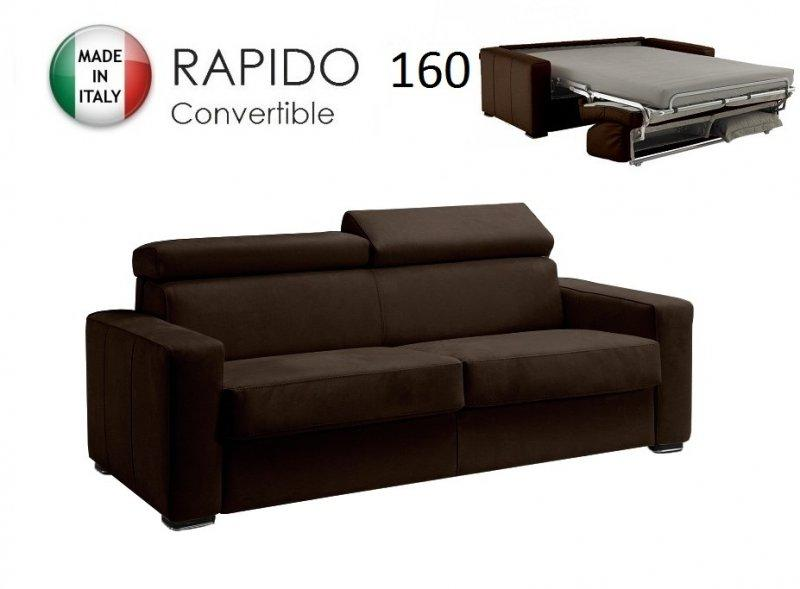canape rapido sidney deluxe cuir vachette marron matelas 14 cm couchage quotidien 160 cm. Black Bedroom Furniture Sets. Home Design Ideas