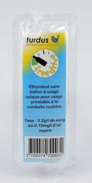 ETHYLOTEST À USAGE UNIQUE SANS BALLON 0.2G/L DE SANG OU 0.10MG/L D'AIR EXPIRÉ - UNITÉ(S)