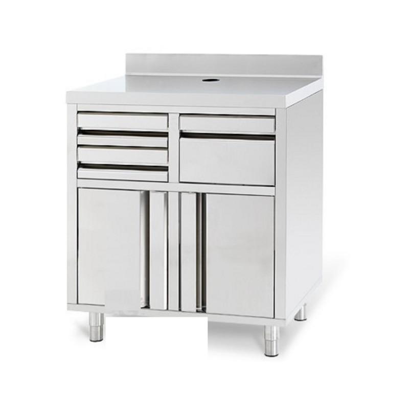 Meuble bas inox pour caf tirroirs 1000 x 600 x1040 2 meubles bas en inox cuisine scolaire