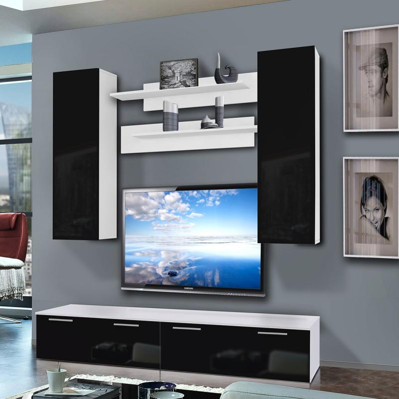 MEUBLE TV MURAL LEDGE I TWIN 200CM NOIR & BLANC - PARIS PRIX