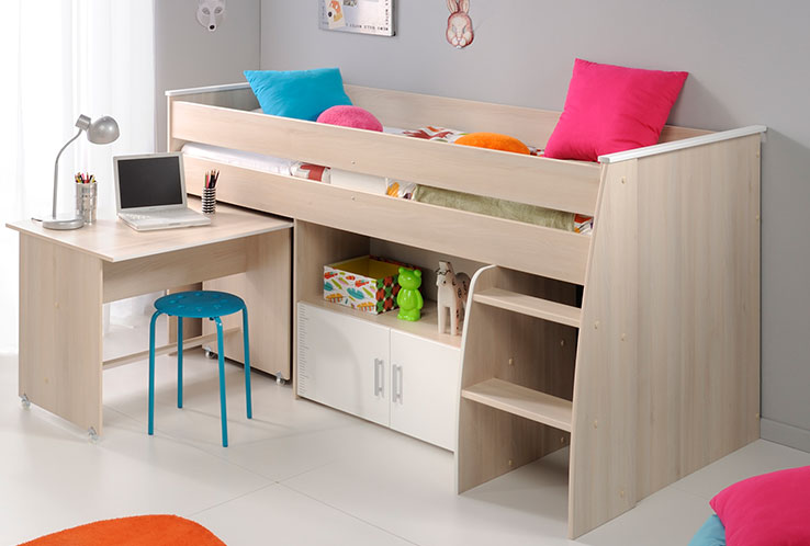 lit pour enfant combine paul acaccia et blanc. Black Bedroom Furniture Sets. Home Design Ideas