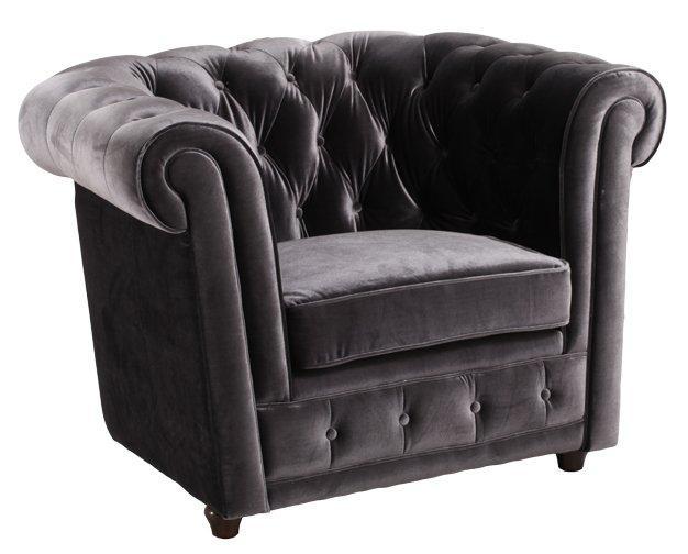 fauteuil chesterfield deluxe en velours gris capitonne. Black Bedroom Furniture Sets. Home Design Ideas