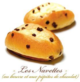 BRIOCHE INDIVIDUELLE - NAVETTES  AUX PETITES DE CHOCOLAT AU LAIT