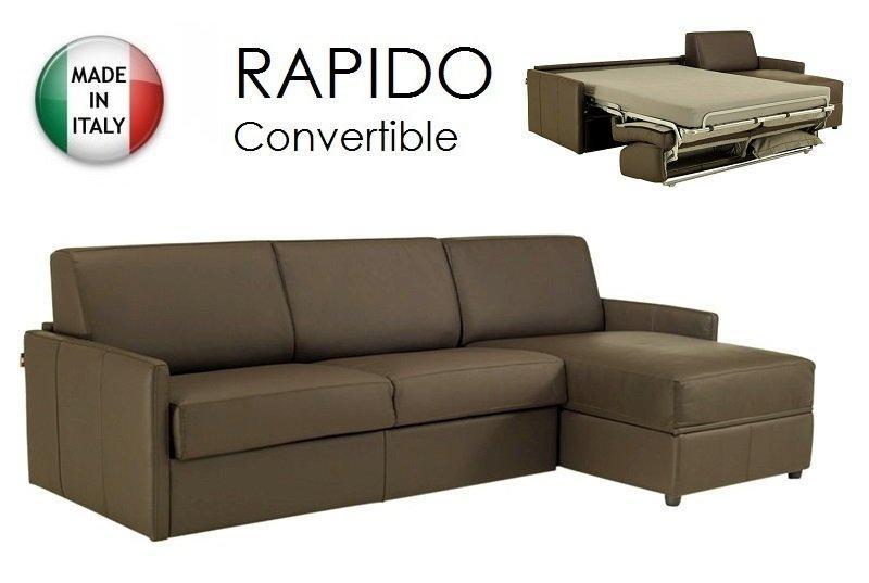 canape d 39 angle sun convertible ouverture rapido 140cm cuir eco taupe. Black Bedroom Furniture Sets. Home Design Ideas