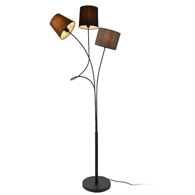 Lampadaire lampe sur pied avec 3 douilles métal et tissu 146 cm 3 abat jour marron noir gris armature noir 03_0002452