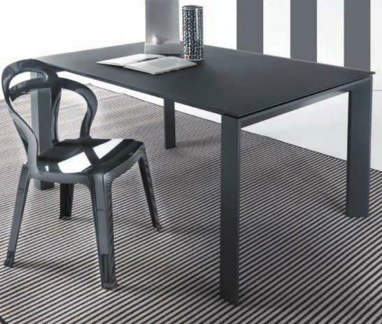 table repas extensible sliver en verre 140 x 90 cm gris titane satine. Black Bedroom Furniture Sets. Home Design Ideas