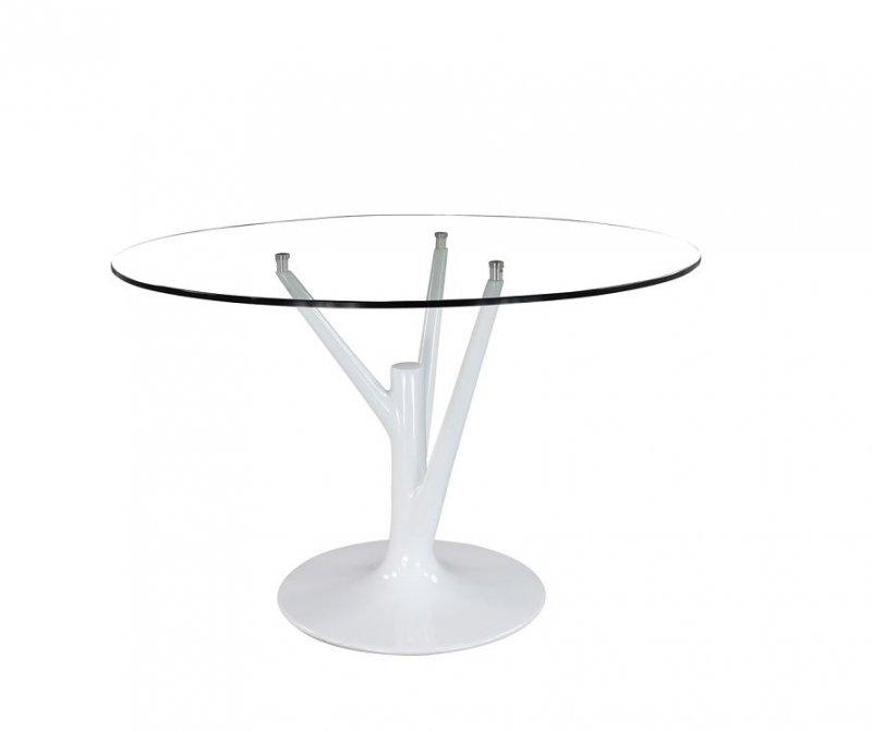 Table ronde de repas design arbre pied tulipe laque blanc for Table ronde blanc