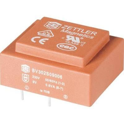 TRANSFORMATEUR POUR CIRCUITS IMPRIMÉS ZETTLER MAGNETICS BV302S09020 1 X 230 V 1 X 9 V/AC 2 VA 66 MA 1 PC(S)