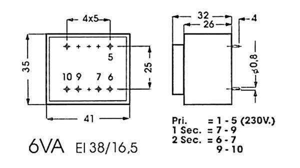 TRANSFORMATEUR MOULE 6VA 2 X 12V / 2 X 0.250A (2120060M)