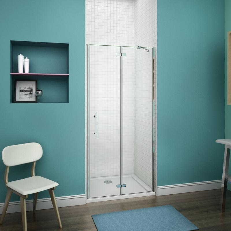 80x195cm cabine de douche charni re porte de douche pivotante installation en niche. Black Bedroom Furniture Sets. Home Design Ideas