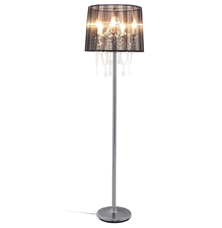 lampadaire chandelier baroque barok 39 pampilles tissu noir comparer les prix de lampadaire. Black Bedroom Furniture Sets. Home Design Ideas