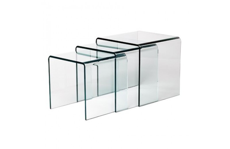Table basse gigogne en verre trempe design 12mm for Table basse en verre trempe