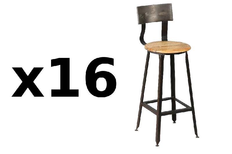 lot de 16 chaises de bar olympe en acier vieilli comparer les prix de lot de 16 chaises de bar. Black Bedroom Furniture Sets. Home Design Ideas