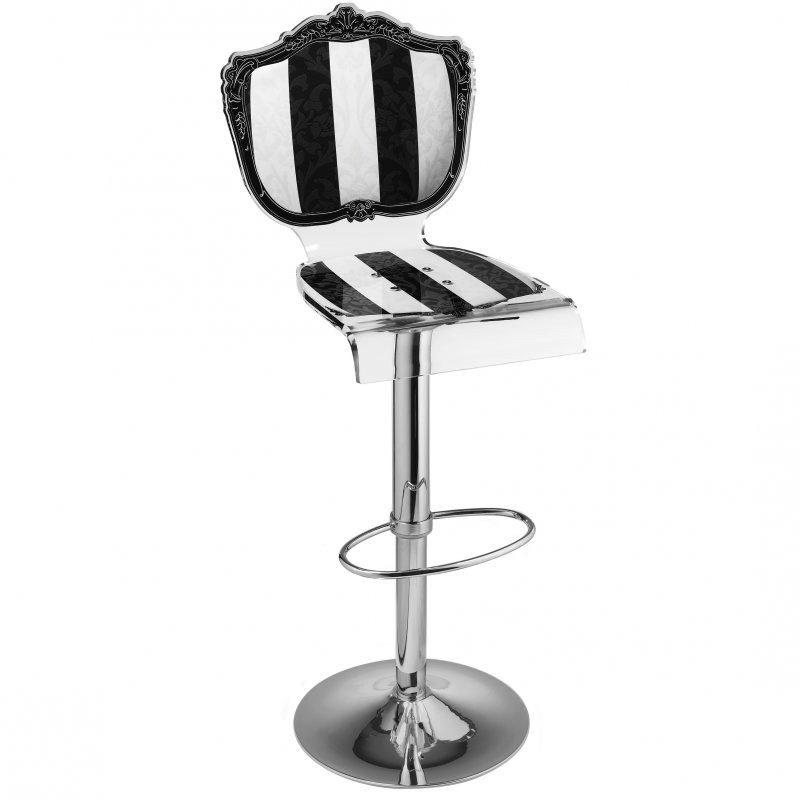 tabouret chaise de bar baroque raye noir blanc plexiglass acrila. Black Bedroom Furniture Sets. Home Design Ideas