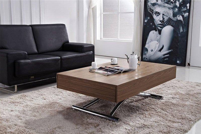 table basse relevable cube noyer extensible 12 couverts. Black Bedroom Furniture Sets. Home Design Ideas