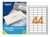AGIPA 119603 ÉTIQUETTES MULTIUSAGES BLANCHES 50X25 MM COINS ARRONDIS - POCH 25 PL. A4