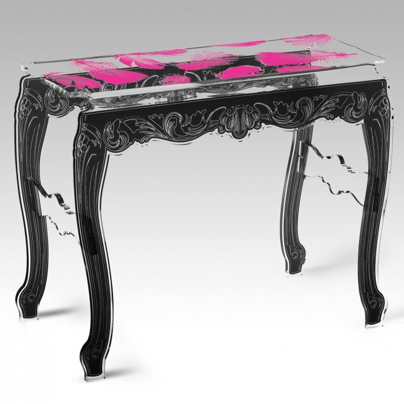 acrila console plume rose pieds noir plexi design. Black Bedroom Furniture Sets. Home Design Ideas
