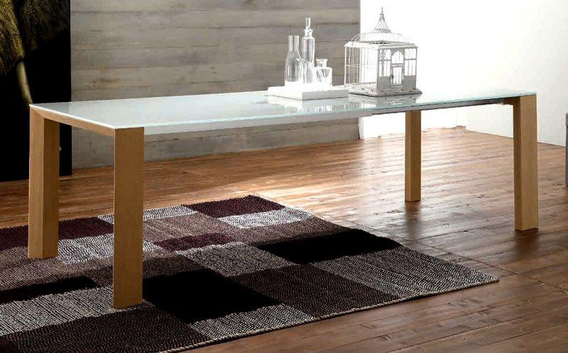 equinox table repas extensible en verre serigraphie pietement bois naturel. Black Bedroom Furniture Sets. Home Design Ideas