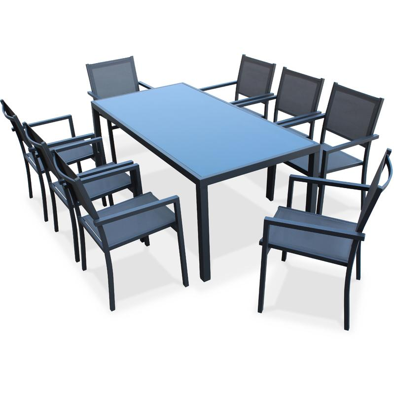 salon de jardin aluminium table 180cm 8 fauteuils en textil ne gris et alu anthracite alice 39 s. Black Bedroom Furniture Sets. Home Design Ideas