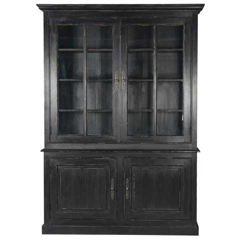 grand vaisselier 2 vitrines 2 portes pin noir. Black Bedroom Furniture Sets. Home Design Ideas