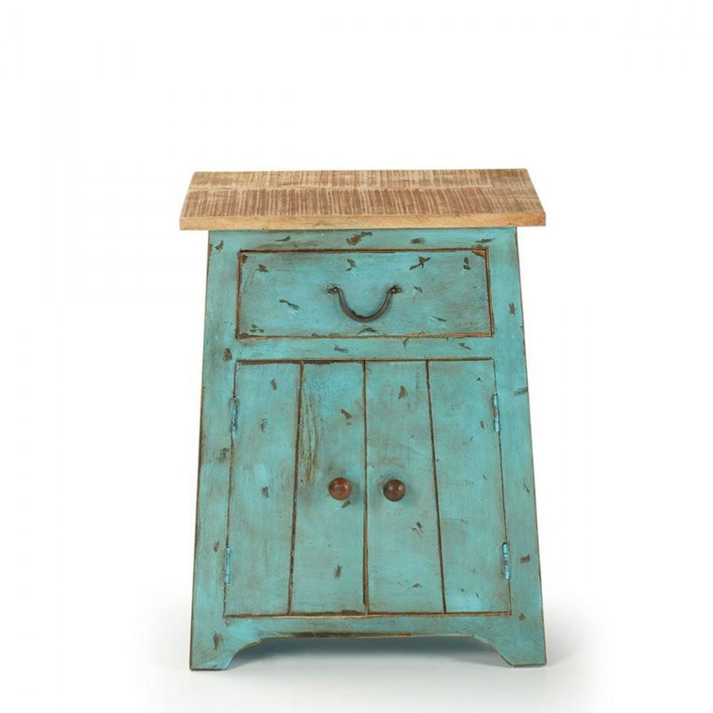 petits meubles de chambre 1 porte 1 tiroir en bois vintage agua 450005